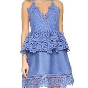 Self Portrait blue peplum lace dress